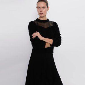 NWT Zara black knit ruffle sheer cropped sweater M